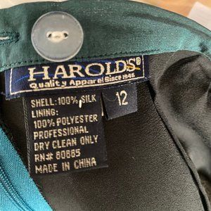 Harold's Skirts - Teal Silk Skirt - Lined Size 12